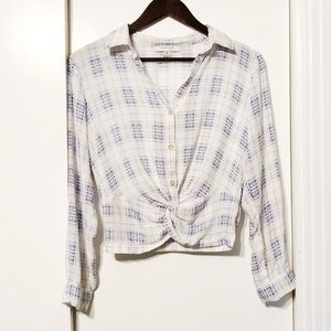 White Blue Plaid Twist Flannel Soft Button Down